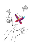 Hands with Butterfly Poster