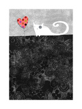 Cat with Heart Flower Posters