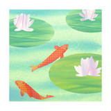 Koi Fish in Pond Prints