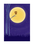 Owl on Branch with Full Moon Premium Giclee Print