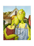 American Gothic Turtle Poster