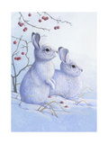 Two Bunnies in the Snow Prints
