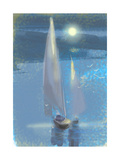 Two Sailboats under Moonlight Poster