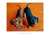 Double Dachsies Kunst af Robert Mcclintock