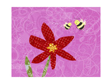 Bees with Red Flower Posters