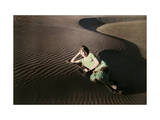 Woman Poses in Rippled Sand Dunes Near Crescent City Photographic Print by Charles Martin