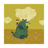 Child on Fire Breathing Dragon Print