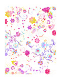 Bright Flower Swirl Pattern Prints