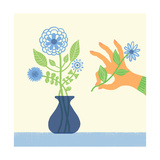 Hand Adds Flower to Bouquet Posters