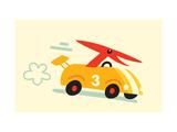Orange Dino in Yellow Racecar Reprodukcje
