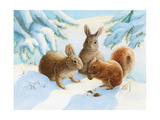 Rabbits and Squirrel in Snow Lámina