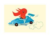 Orange Dino in Blue Racecar Poster