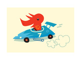 Orange Dino in Blue Racecar Premium Giclee Print