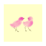 Pink Chicks on Yellow Background Posters