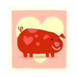 Cute Pig in Front of Heart Posters