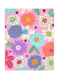 Flower Assortment on Pink Art
