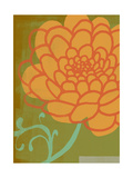 Orange Flower with Green Background Posters