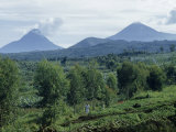 Scenic View of Two Active Volcanoes in the Virunga Peaks Photographic Print by W. Robert Moore