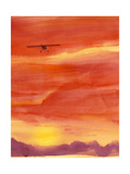 Airplane in Orange Sunset Print