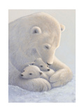 Mother Polar Bear and Cubs Art