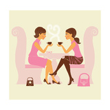 Girlfriends Talk over Coffee Art