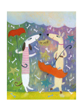 Dog Pair with Umbrellas Prints