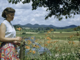 Woman Inspects Roadside Day Lilies, Low Mountains Line Horizon Photographic Print by William Gray