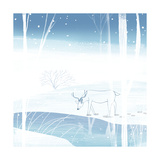 Deer on Snowy Day Prints