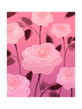 Pink Roses with Maroon Stems Posters