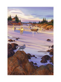 Boats on Beach at Low Tide Prints