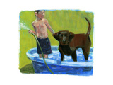 Boy with His Dog in the Pool Póster