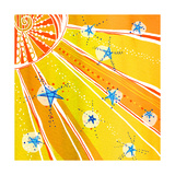 Brightly Colored Sun and Stars Posters
