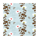 Floral Vines with Butterfly Poster