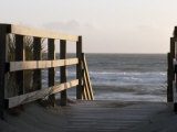 Wooden Walkway Leads to a Sunset View on a California Pacific Beach Photographic Print by Paul Sutherland