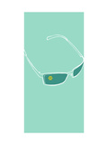Sunglasses on Teal Background Print