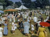People Stroll Past Refreshment Booths at an Annual Fair Photographic Print by Howell Walker