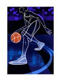 Basketball Player on Blue Premium Giclee Print