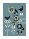Graphic Birds and Flowers Kunstdrucke