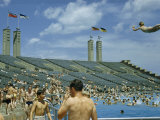 City Dwellers Swim in Flushing Meadow Park Pool Photographic Print by Howell Walker