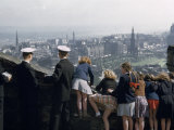 American Midshipmen and Schoolgirls Look over Parapet at Cityscape Photographic Print by Melville Grosvenor