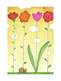 Snail with Tall Flowers Poster