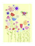 Butterfly in Flower Garden Prints