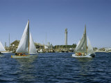 Sailboats Racing Off Provincetown Pass Tall Pilgrim Monument Photographic Print by Robert Sisson