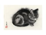 Sleeping Gray Cat Giclée-Premiumdruck