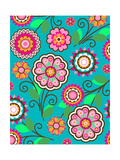 Bright Pink Flowers on Teal Posters