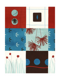 Red and Blue Floral Squares Posters