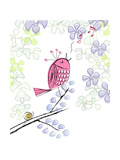 Pink Bird Singing in Tree Prints