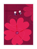 Large Red Flower with Bees Poster