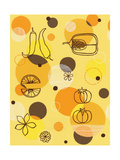 Fruits and Vegetables on Yellow Posters