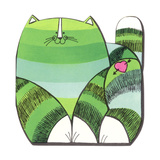 Green Striped Cat Prints